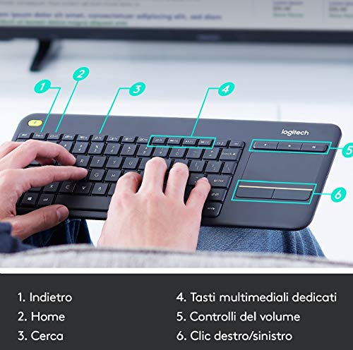 Logitech K400 Plus Tastiera Wireless per TV, PC, Home Theater, Tasti Multimediali Personalizzabili, Windows, Android, Laptop/Tablet, Layout Italiano QWERTY, Nero