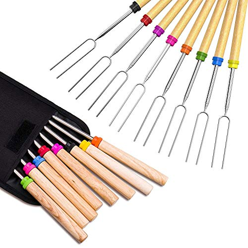 Newthinking Roasting Sticks, Marshmallow Roasting 32 Inch Telescopic BBQ Roasting Forks, Stainless Steel with Coloured Wooden Handle, Hot Dog Forks Barbecue Accessories With Carrying Bag for Camping