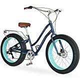 sixthreezero EVRYjourney Fat Tire Women's 7-Speed Step-Through Touring Hybrid Bike, 26' Bicyle, Navy Blue w/Brown Seat/Grips