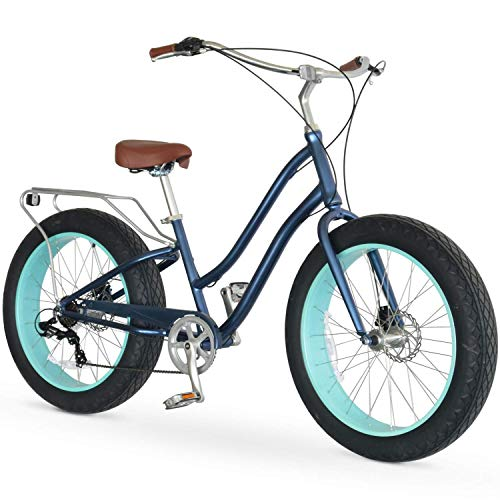 sixthreezero EVRYjourney Fat Tire Women's 7-Speed Step-Through Touring Hybrid Bike, 26' Bicyle, Navy with Brown Seat and Brown Grips