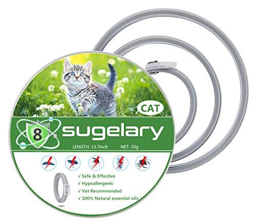 Sugelary Collare Antipulci per Gatti Impermeabile, Collare Antipulci Pulci e Zecche Collare 8 Mesi di Efficacia Protezione Pettorale in Gomma Repellente (1)
