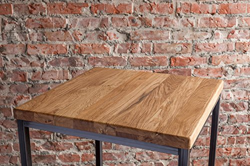 Stehtisch Bartisch Tresen Bar IndustrieDesign Loft (ein Set: 66er Tisch +2 Hocker, Eiche natur) - 2