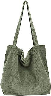 Ulisty Damen Grosse Kapazität Cord Schultertasche Retro Handtasche Mode Einkaufstasche Tägliche Tasche Grün