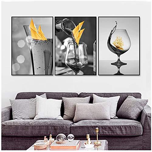 Canvas foto, moderne zwarte wijnglas muurkunst met posters en afdrukken van boten galerij eetkamer decoratie voor thuis 60 x 80 cm (23,6 x 31,5 inch), zonder lijst