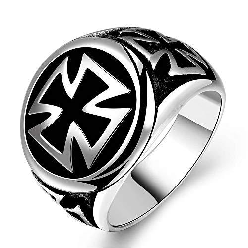 BlackAmazement, anello in acciaio inossidabile 316L, triplo, crocifisso di ferro, colore argento e nero, da uomo e Acciaio inossidabile, 20, colore: argento, cod. -