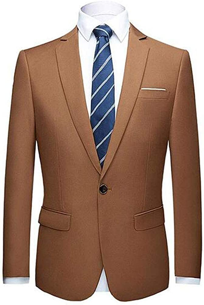 Men's Peak Lapel One Button Solid Blazer Casual Coat Prom Party Jacket Wedding Dinner Tuxedos