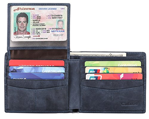 Mens Genuine Leather Bifold Wallet with 2 ID Window and RFID Blocking - Deep Blue