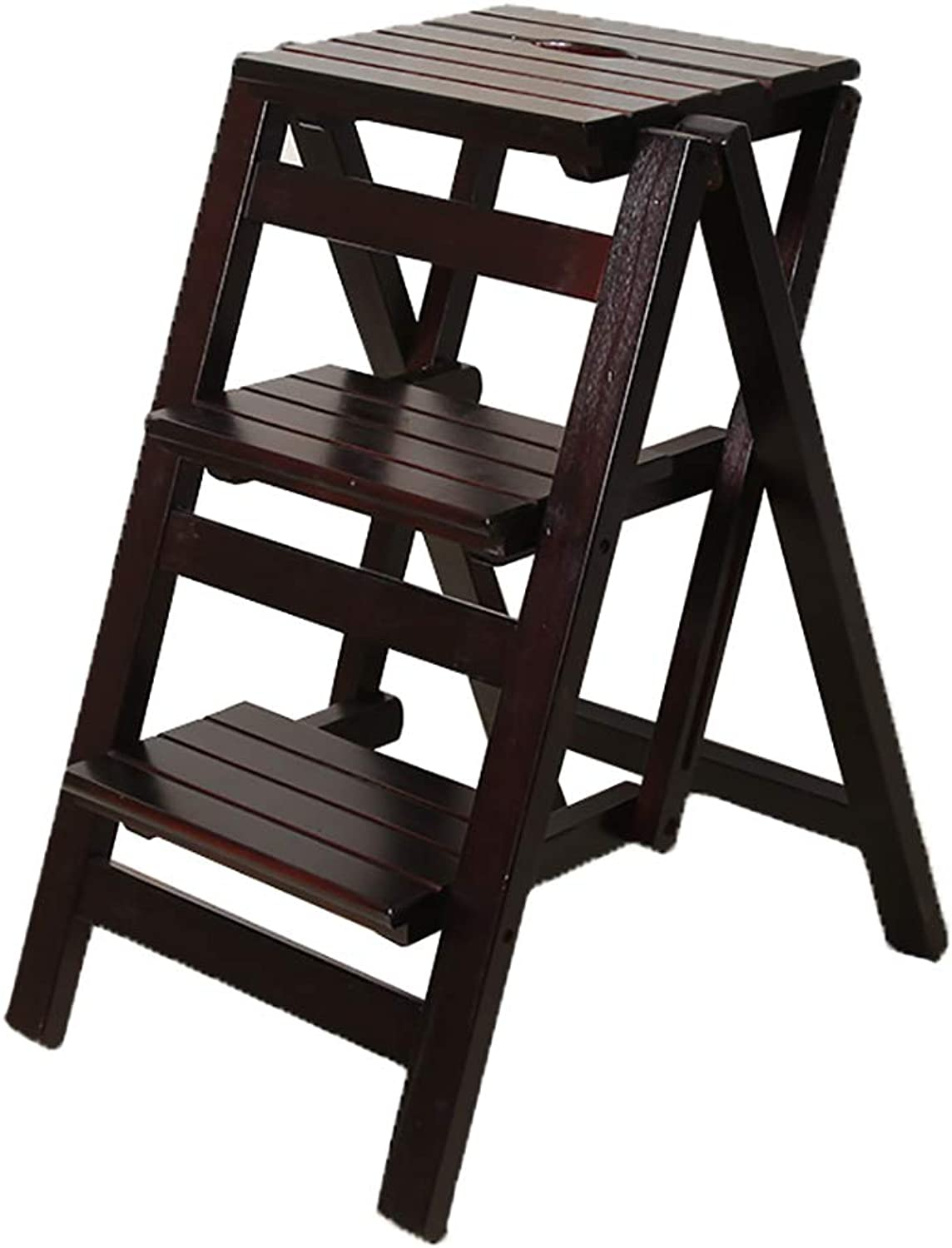 Step stools stools stools Wood Multifunctional Ladder Stool Change shoes Bench, Folding Step Stool  2 Tier,3 Tier,4 Tier,Black Walnut (Size   3step) 8109c5