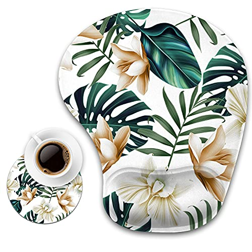 Ergonomic Mouse Pad with Wrist Support and Cup Coaster,Tropical Plant Flower Leaves Non-Slip PU Base Ergonomic Design to Protect Your Wrist for Home Office Working Studying Easy Typing & Pain Relief