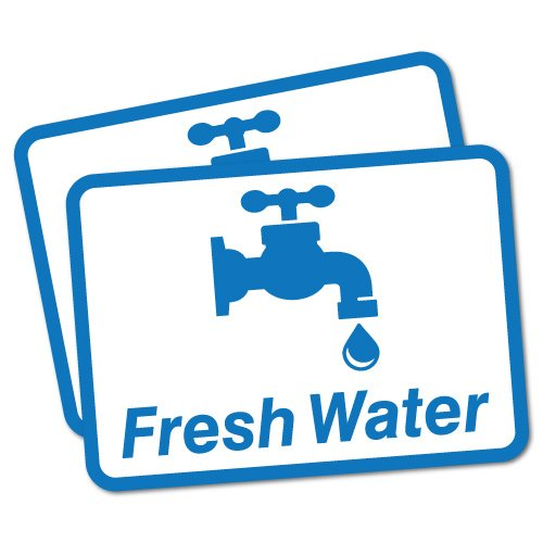 2 x Fresh Water Sticker Decal Safety Sign Car Vinyl