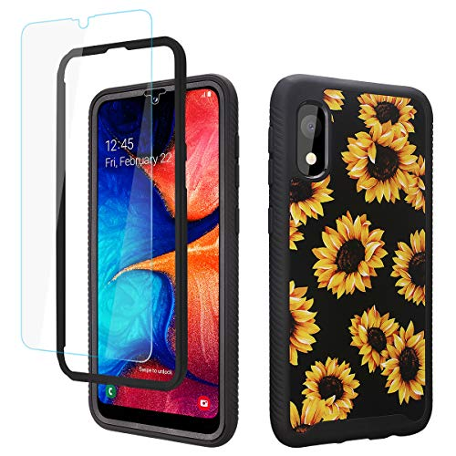GOLINK Full Body Shockproof Protective Case with HD Screen Protector for Galaxy A10e-Sunflower