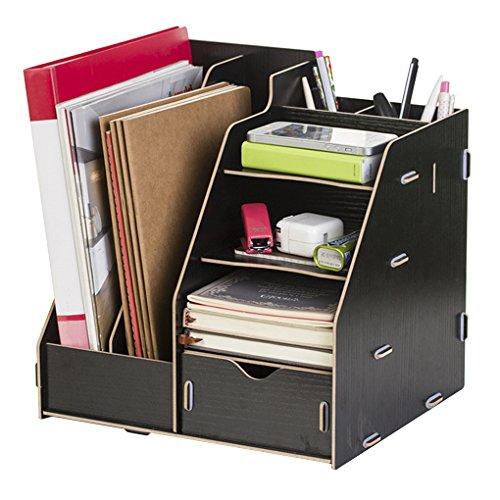 Schreibtisch-Organizer für Dokumente, Büromaterialien, Ordner, Ordnerregal, Ordnungsregal, Ordnungsregal, für Papier, Dokumente und Magazine Schwarz