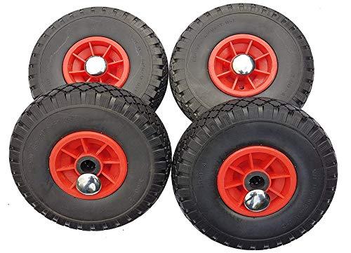 4 x Frosal PU 25 mm Nabe Rad Bollerwagen Reifen + Radbefestigung Sackkarre Ersatzrad Vollgummi pannensicher