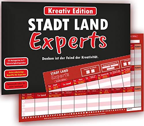 Kulinu Stadt Land Experts - das Innovative Stadt Land Fluss Spiel für echte Experten - Partyspiel Gesellschaftsspiel Quiz Wissensspiel Geschenkidee (Kreativ Edition, Din A4)