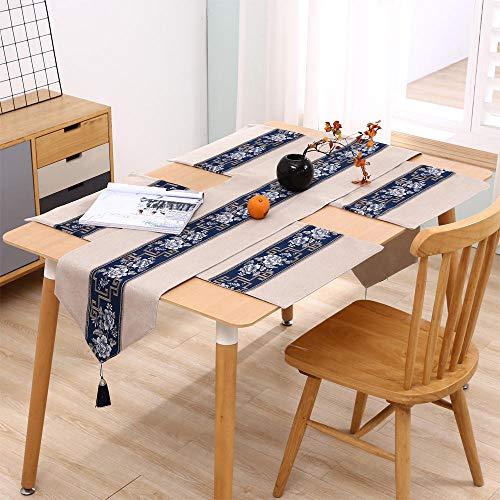 Branfan Nieuwe Chinese Zen tafellopers moderne minimalistische katoenen linnen theetafel Chinese stijl eettafel TV kast salontafel tafelkleed 33 * 240CM geschikt voor 180CM lange tafel
