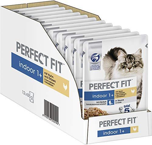 Perfect Fit Indoor 1+ – Nassfutter für erwachsene Hauskatzen ab 1 Jahr – Huhn und Erbsen in Sauce – Unterstützt die Vitalität – 12 x 85 g