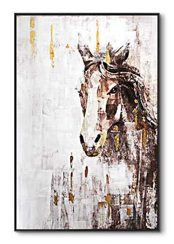 lampig Horse Wall Art Stallion Pictures Wall Decor Hand Painted Oil Paintings Large Brown Gold Animal Canvas Prints Vertical Farmhouse Artwork for Living Dining Room Bedroom Hallway Walls 32 x48