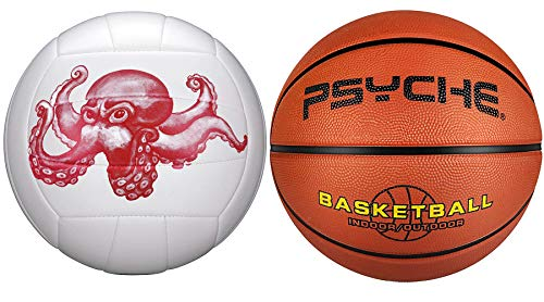 Size 3 Rubber Basketball for Kids + Size 5 Volleyball for...