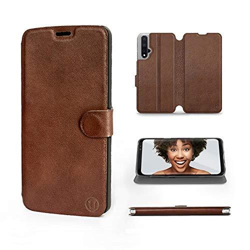 Mobiwear | Echt Lederhülle | Kompatibel mit Huawei Nova 5T, Made in EU handyhülle, Slim Leather Hülle, Premium Flip Schutzhülle, Transparent TPU Silicon, Book Style, Tasche - Braunes Leder