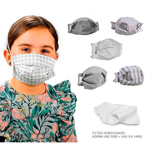GREY STAR PACK 5 MASCARILLAS INFANTILES FACIALES DE TELA LAVABLE REUTILIZABLE 2 CAPAS + BOLSILLO CON 5 FILTROS TELA HOMOLOGADOS INCLUIDOS. DOBLE AJUSTE ELASTICO CABEZA.
