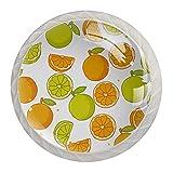 Oranges Limons - Pomos para cajón de frutas verdes brillantes de 1,18 pulgadas, tiradores de cristal para cocina, baño, cocina, oficina, accesorios con tornillos