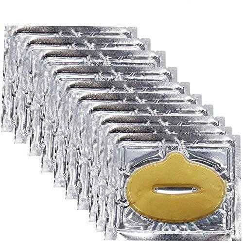 Adofect 30 PCS 24K Gold Bio Collagen Gel Lip Pad Mask For Moisturizing, Anti-Wrinkle, Anti-Aging, Nourishing & Hydrating Lips, Gold