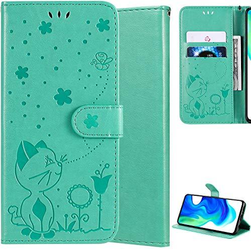 DodoBuy Hülle für Nokia 3.1 Plus, Katze Muster PU Leder Schutzhülle Tasche Hülle Flip Folio Cover Brieftasche Ständer Kartenfächer Magnetverschluss Trageschlaufe - Grün