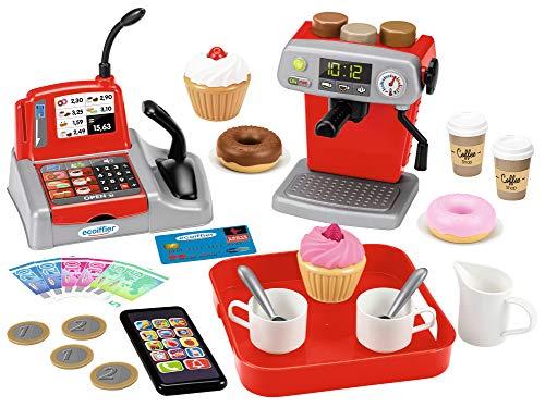 Ecoiffier – Coffee Shop – zestaw do gry z ekspresem do kawy, pączkami, serwisem do kawy, kasą, pieniędzmi, mini smartfonem, dla dzieci od 18 miesięcy
