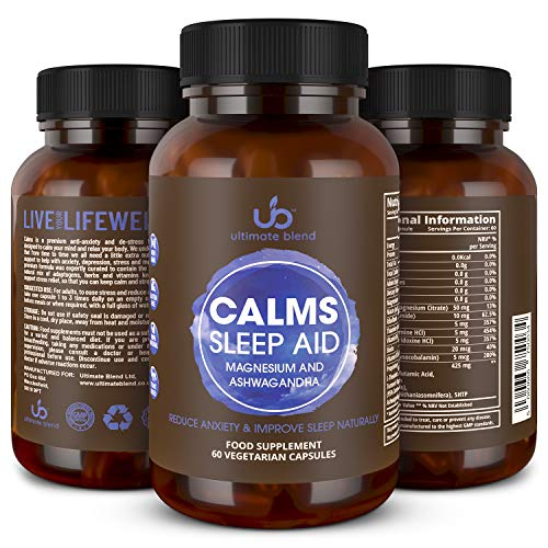 Ultimate Blend | Calms Sleep Aid with Magnesium + Ashwagandha | Natural Stress & Anxiety Supplement | Vegan, Gluten Free | Relaxation & Relief from Tension, Insomnia, Sleeplessness – 60 Veggie Caps