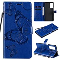 ZXL for Honor Play 4 ケース,Butterfly Embossed フリップフォリオキックスタンドソフトスキンPUレザーウォレットケースカバー for Huawei Honor Play 4 with Lanyard Blue