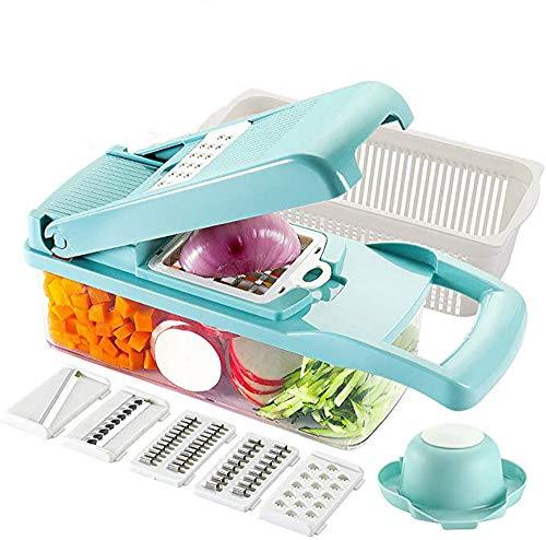 Groentesnijmachine Snijmachine Snijmachine Voor Fruit Snijmachine Snijmachine Voor Voedingsmiddelen Met 7 Roestvrijstalen Messen Verstelbare Snijopslagcontainer