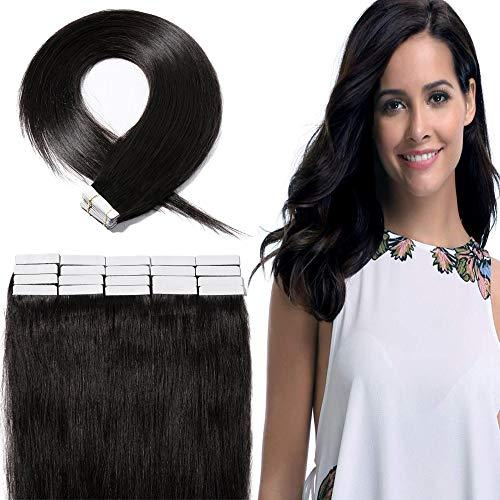 """Extension Adhesive Naturel 20 Pcs Rajout Cheveux Naturel Cheveux Humain Remy (#1B Noir Naturel, 14""""(35cm))"""