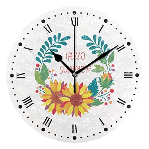 Reloj de pared silencioso,reloj de cocina,Relojes de Cuarzo silencioso Que no Hace tictac,para sala de estar,dormitorios,(Diámetro: 25 cm),Guirnalda Floral con Girasoles Pared Girasoles Hojas