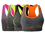 Women's Seamless Sports Bra Medium Impact Pocket Yoga Bras S Pack of 4