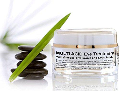 Glycolic Acid Organic Eye Gel Serum Hyaluronic Acid AHA Multi Acid Eye Treatment Brighten Tighten Skin 15ml