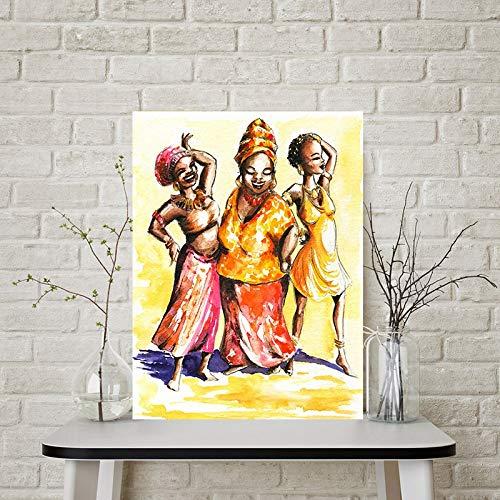 Afrikanische Frau abstraktes Porträt Ölgemälde auf Leinwand Poster und Drucke Scandinavian Wandkunst Bild für Raum Rahmenlos 50x75cm Leben