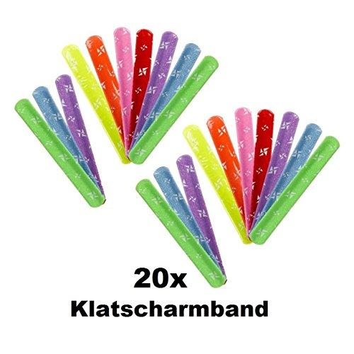 Lg-Imports 20x Klatscharmband Schnapparmband Reflektor Armband Mitgebsel Tombola Geburtstag