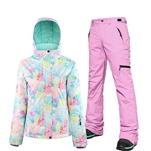 Ski-jack voor dames, met broek, kostuum, bedrukt, ski, kleurrijk, buiten, waterdicht, winddicht, voor wintersport, sneeuwjas/broek, set, ski-onesie voor snowboarden, bergbeklimmen
