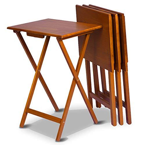 COSTWAY 4er Klapptisch Holz, Beistelltisch Balkontisch, Holztisch klein, Gartentisch 48x37x66cm