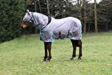 Jump Equestrian All In One Fly Rug Grey With Elastic Neck And Free Fly Mask (5'9'')