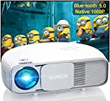 Bluetooth Projector Full HD, WiMiUS S4 Native 1080P Projector, Support WiFi Projector with Zoom Keystone, 300' Home & Outdoor Video Movie Projector for Fire Stick, iPhone, Android, Laptop, PS5
