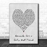 Diamonds are a Girl's Best Friend Grey Heart Song Lyric Print