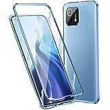 MOSSTAR Funda para Xiaomi Mi 11 Lite, Carcasa Adsorción Magnética, 360 Grados Protección Transparente Caso, Metal Flip Cover Frontal y Posterior Vidrio Templado Anti Choque Case,Azul