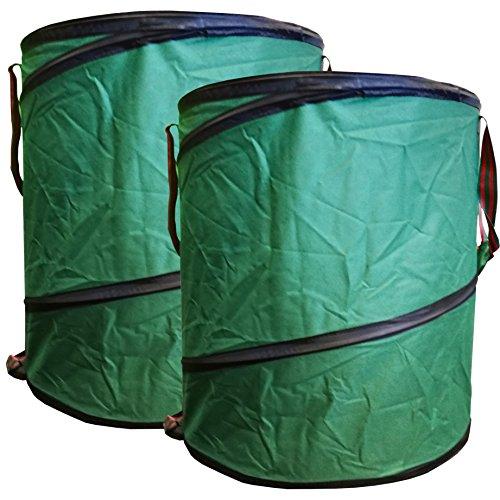 StyleKiste 2X Gartenabfalltonne Pop Up Faltbarer Gartensack 160 Liter Laubsack aus stabilen Oxford Nylon bis 50 Kilo
