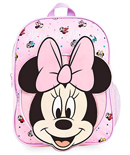 Disney Minnie Mouse School Bag, 3D Pink Backpacks for Girls, Large Rucksack Backpack for School Travel, Cute Accessories for Girls, Official Merchandise Disney Gifts for Girls