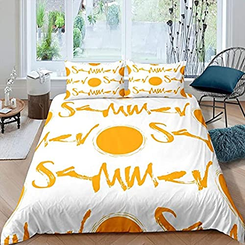 Sängkläder Sängkläder Sol Sommar Gul Vit 3 delar Sängkläder (2 örngott) Viktoriansk täckeöverdrag för ung tonåring
