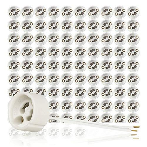 GU10 Standard Keramik Fassungen mit Aderendhülsen gecrimpt VDE RoHS 230-250 Volt 2A max.100W 0,75mm2 Kabel LED Halogen (hier: 100 Stück)