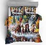 NEWAT Juego de funda de edredón con diseño de caballo de guerra en 3D, juego de funda de almohada y funda de edredón para los amantes de los animales (A14,135 x 200 cm)
