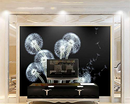 Behang zwarte paardenbloem transparante bloemen moderne mode persoonlijkheid achtergrond wandbehang Wgop 350 cm x 245 cm.