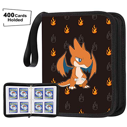 POKONBOY Carrying Case Binder Fit for Pokemon Cards Holder, 400 Baseball Card Sleeves Compatible with Pokemon Binders for Cards Perfect for Skylanders, Top Trumps and Baseball Card Binder image